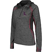 Colosseum Women's Ole Miss Rebels Grey Downhill Quarter-Zip Hooded Wind Shirt