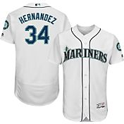 Majestic Men's Authentic Seattle Mariners Felix Hernandez #34 Home White Flex Base On-Field Jersey