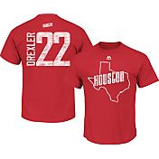 Majestic Men's Houston Rockets Clyde Drexler #22 Red Hardwood Classic T-Shirt