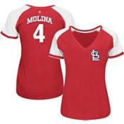 Majestic Women's St. Louis Cardinals Yadier Molina #4 Red/White Raglan V-Neck T-Shirt
