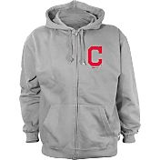 Stitches Men's Cleveland Indians Grey Full-Zip Hoodie