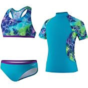 Speedo Girls' Jungle Rhythm Rash Guard 3-Piece Swimsuit Set