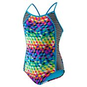Speedo Girls' Illusion Cubes Side Splice Racer Back Swimsuit