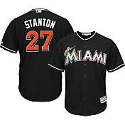 Majestic Youth Replica Miami Marlins Giancarlo Stanton #27 Cool Base Alternate Black Jersey