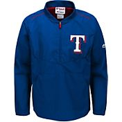 Majestic Youth Texas Rangers Cool Base Royal On-Field Half-Zip Jacket