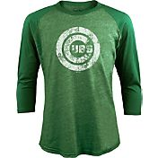 Majestic Threads Men's Chicago Cubs St. Patrick's Day Green Raglan Three-Quarter Shirt