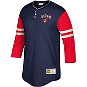 Mitchell & Ness Men's Cleveland Indians Navy/Red Three-Quarter Raglan Sleeve Shirt