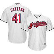 Majestic Men's Replica Cleveland Indians Carlos Santana #41 Cool Base Home White Jersey