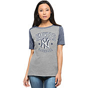'47 Women's New York Yankees Empire Grey/Navy Raglan Half-Sleeve Shirt