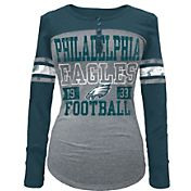5th & Ocean Women's Philadelphia Eagles Tri-Blend Henley Long Sleeve Shirt