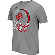 adidas Men's NC State Wolfpack Grey Football Helmet T-Shirt