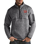 Antigua Men's Arizona Diamondbacks Grey Fortune Half-Zip Pullover