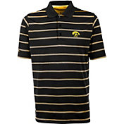 Antigua Men's Iowa Hawkeyes Deluxe Performance Black Polo