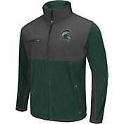 Colosseum Athletics Men's Michigan State Spartans Green/Grey Mesa Polar Fleece Jacket