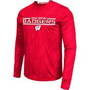 Colosseum Athletics Men's Wisconsin Badgers Red Sleet Long Sleeve Performance Shirt