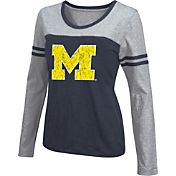 Colosseum Athletics Women's Michigan Wolverines Blue Leap Scoop Neck Long Sleeve Shirt