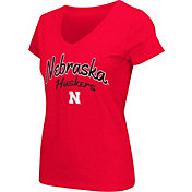 Colosseum Athletics Women's Nebraska Cornhuskers Scarlet Script Graphic V-Neck T-Shirt