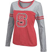 Colosseum Athletics Women's NC State Wolfpack Red Leap Scoop Neck Long Sleeve Shirt