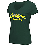 Colosseum Athletics Women's Oregon Ducks Green Script Graphic V-Neck T-Shirt