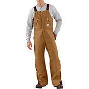 Carhartt Men's Zip-To-Waist Quilt Lined Duck Bib Overalls