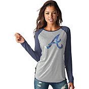 Touch by Alyssa Milano Women's Atlanta Braves Grey/NavyLong Sleeve Shirt