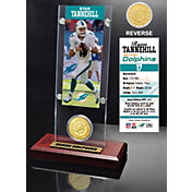 The Highland Mint Miami Dolphins Ryan Tannehill Ticket and Bronze Coin Desktop Display