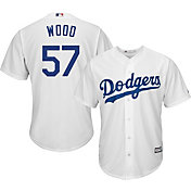 Majestic Men's Replica Los Angeles Dodgers Alex Wood #57 Cool Base Home White Jersey