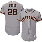 Majestic Men's Authentic San Francisco Giants Buster Posey #28 Road Grey Flex Base On-Field Jersey
