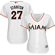 Majestic Women's Replica Miami Marlins Giancarlo Stanton #27 Cool Base Home White Jersey