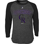 Majestic Youth Colorado Rockies Black Raglan Long Sleeve Shirt