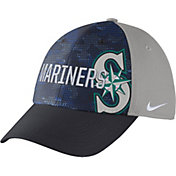 Nike Men's Seattle Mariners Dri-FIT Navy/Grey Swoosh Flex Fitted Hat