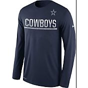 Nike Men's Dallas Cowboys Team Practice Performance Navy Long Sleeve Shirt