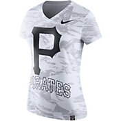 Nike Women's Pittsburgh Pirates Dri-Blend White Tonal Pattern V-Neck T-Shirt