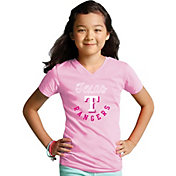 Soft As A Grape Youth Girls' Texas Rangers Pink V-Neck Shirt