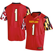 Under Armour Men's Maryland Terrapins #1 Red Premier Replica Football Jersey