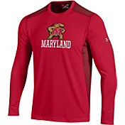 Under Armour Men's Maryland Terrapins Raid Performance Long Sleeve Red T-Shirt