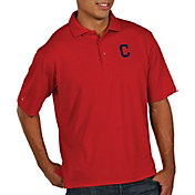 Antigua Men's Cleveland Indians Red Pique Performance Polo