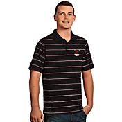 Antigua Men's Miami Heat Deluxe Black Striped Performance Polo