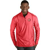 Antigua Men's Atlanta Hawks Tempo Red Quarter-Zip Pullover