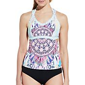 CALIA by Carrie Underwood Women's Cutout Printed Tankini Top