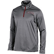 Champion Men's Indiana Hoosiers Grey Knit Mesh Quarter-Zip Shirt