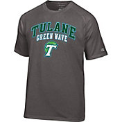 Champion Men's Tulane Green Wave Grey Dual-Blend T-Shirt