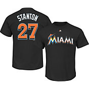 Majestic Boys' Miami Marlins Giancarlo Stanton #27 Black T-Shirt