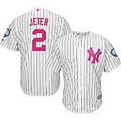 Majestic Men's Replica New York Yankees Derek Jeter #2 Cool Base Mother's Day Jersey w/ Jersey Retirement Patch