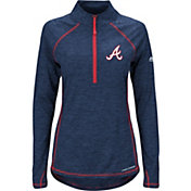 Majestic Women's Atlanta Braves Cool Base Navy Half-Zip Pullover
