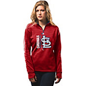 Majestic Women's St. Louis Cardinals Therma Base On-Field Red Authentic Collection Quarter-Zip Pullover