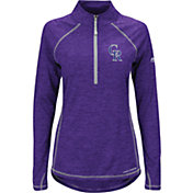 Majestic Women's Colorado Rockies Cool Base Purple Half-Zip Pullover