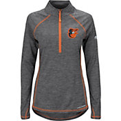 Majestic Women's Baltimore Orioles Cool Base Grey Half-Zip Pullover