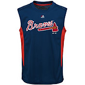 Majestic Youth Atlanta Braves Cool Base Foul Line Navy Performance Sleeveless Shirt