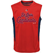 Majestic Youth St. Louis Cardinals Cool Base Foul Line Red Performance Sleeveless Shirt